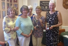Challenge Cup Winner Sue, Runner Up Nin together with Acting Captain Pat, Referee Joan and President Cathy