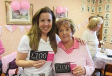 Pink Day Winners Pat T and daughter Sue Abel Beswick - Prize Donated by Miss Designer Golf